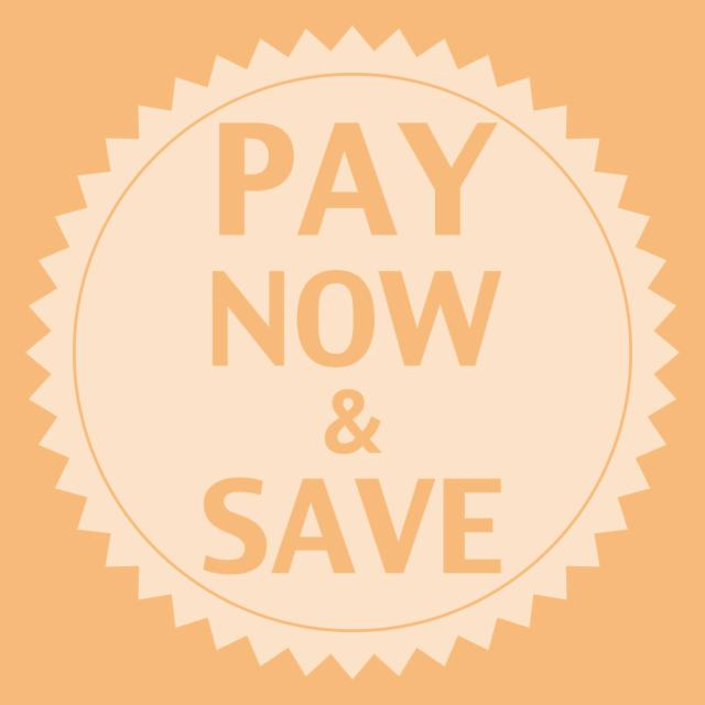 Pay Now & Save up to 20% - Non-Refundable