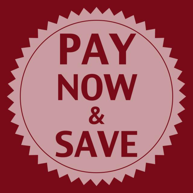 Pay now & save - 15% Off