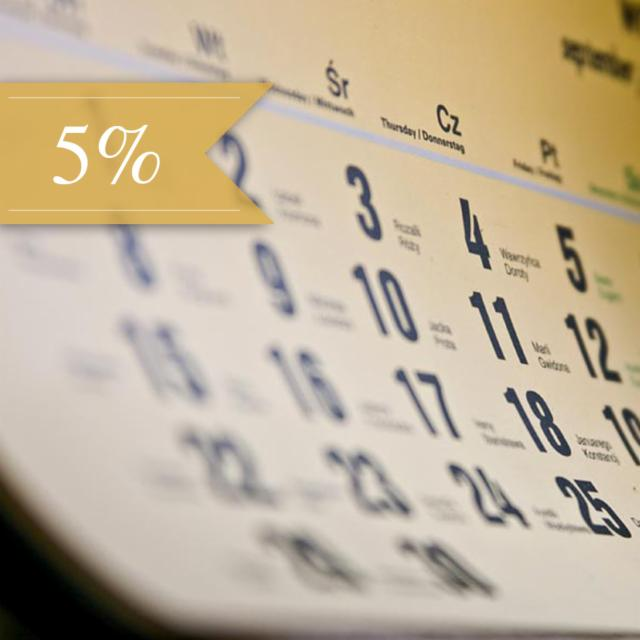 Book in advance and save 5%!